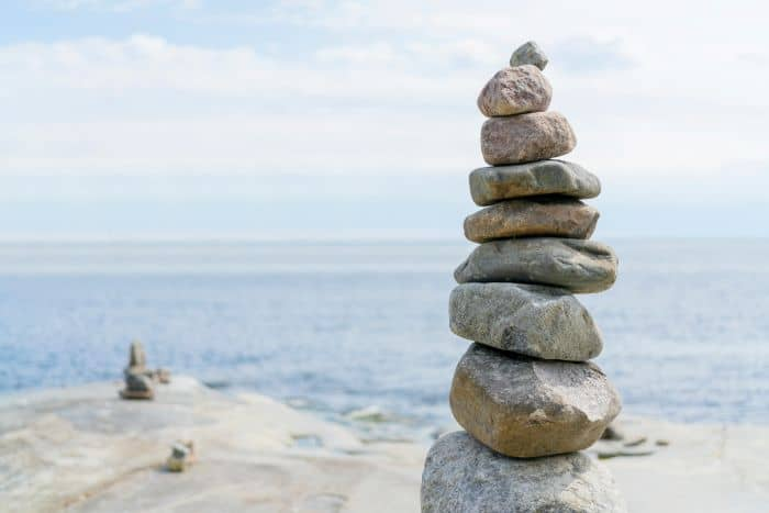 A balanced pile of rocks one above the other