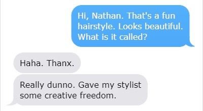 Complimenting Hairstyle Text