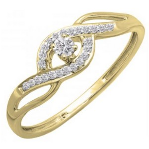 Dazzlingrock Collection Criss Cross Promise Ring