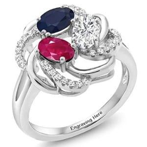 Gemstone King Flower Blossom Promise Ring