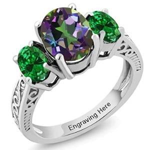Gemstone King Three Stone Promise Ring