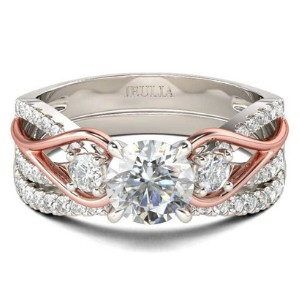 Jeulia Two Tone Halo Promise Ring